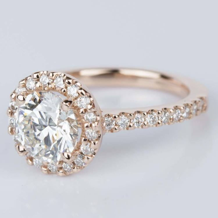 Halo Diamond Engagement Ring in Rose Gold 1 25 ct