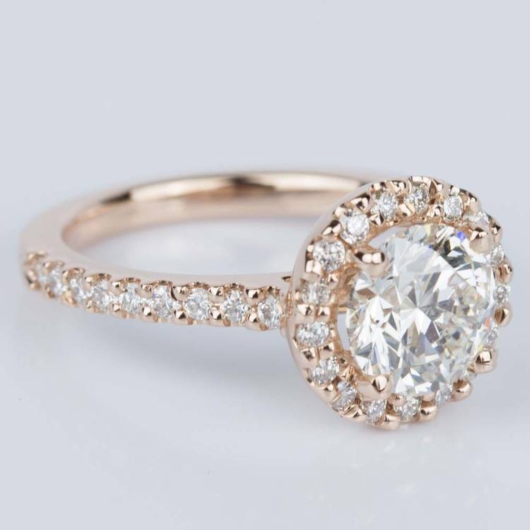 Halo Diamond Engagement Ring in Rose Gold (1.25 ct.) angle 3