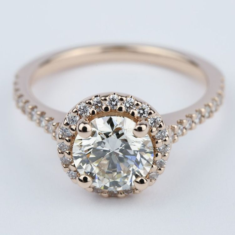Diamond Engagement Ring in Rose Gold with M Color Diamond