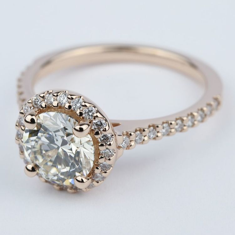 Diamond Engagement Ring in Rose Gold with M Color Diamond angle 2