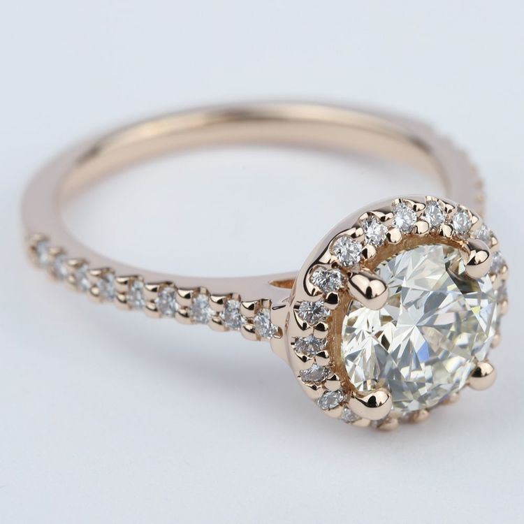 Diamond Engagement Ring in Rose Gold with M Color Diamond angle 3