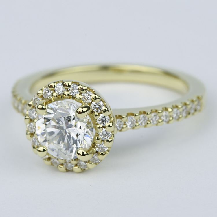 Halo Diamond Engagement Ring in 18K Yellow Gold (1 Carat) angle 2