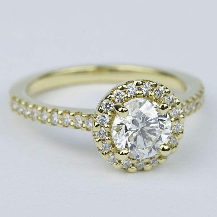 Halo Diamond Engagement Ring in 18K Yellow Gold (1 Carat) angle 3