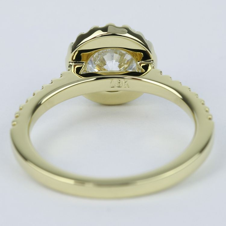 Halo Diamond Engagement Ring in 18K Yellow Gold (1 Carat) angle 4