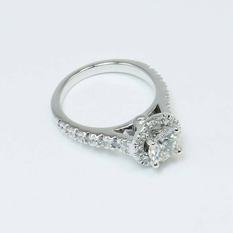 Halo Diamond Ring with Surprise Diamond Accent (1 Carat) angle 2