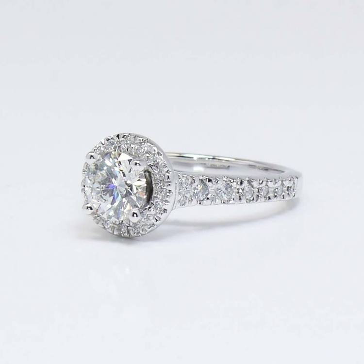 Halo Diamond Ring with Surprise Diamond Accent (1 Carat) angle 3