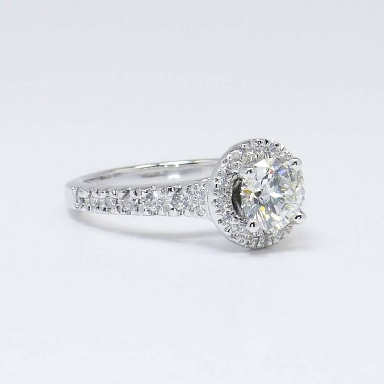Halo Diamond Ring with Surprise Diamond Accent (1 Carat) angle 4