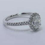 Halo 0.88 Carat Oval Diamond Engagement Ring - small angle 3