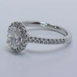 Halo 0.88 Carat Oval Diamond Engagement Ring - small angle 2