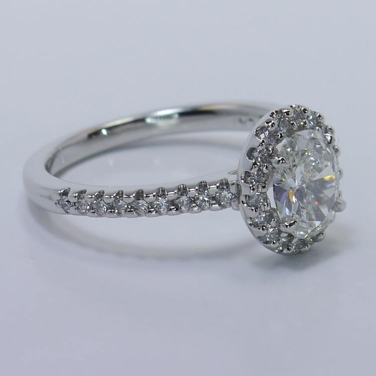 Halo 0.88 Carat Oval Diamond Engagement Ring angle 3