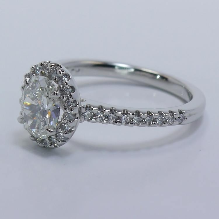 Halo 0.88 Carat Oval Diamond Engagement Ring angle 2