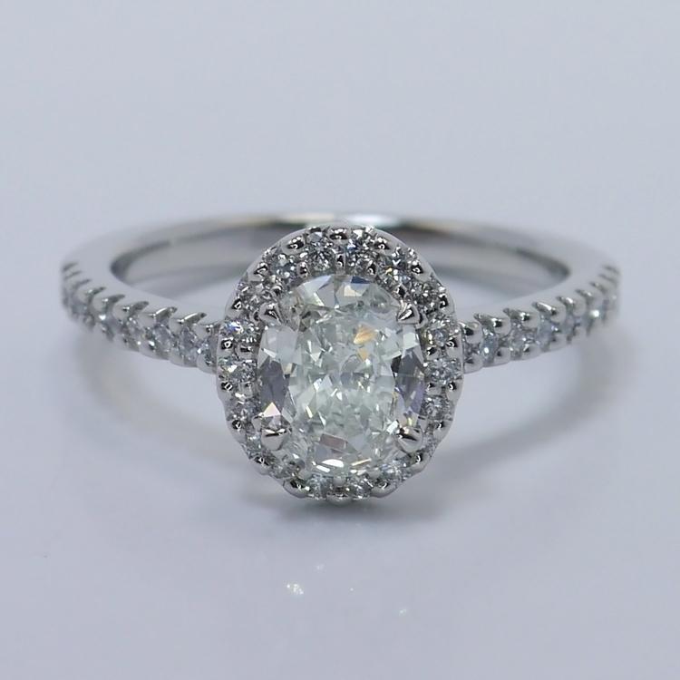 Halo 0.88 Carat Oval Diamond Engagement Ring