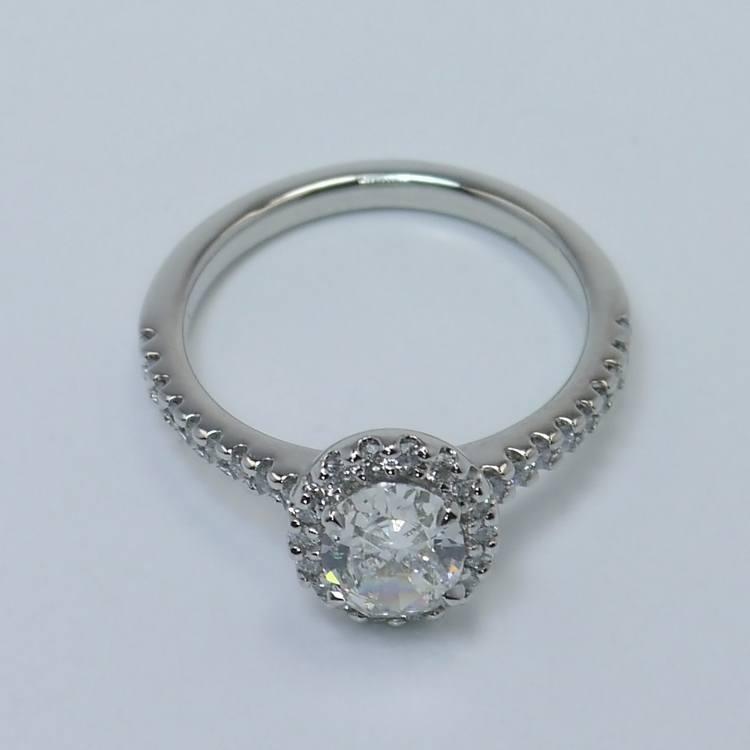 Halo 0.88 Carat Oval Diamond Engagement Ring angle 4