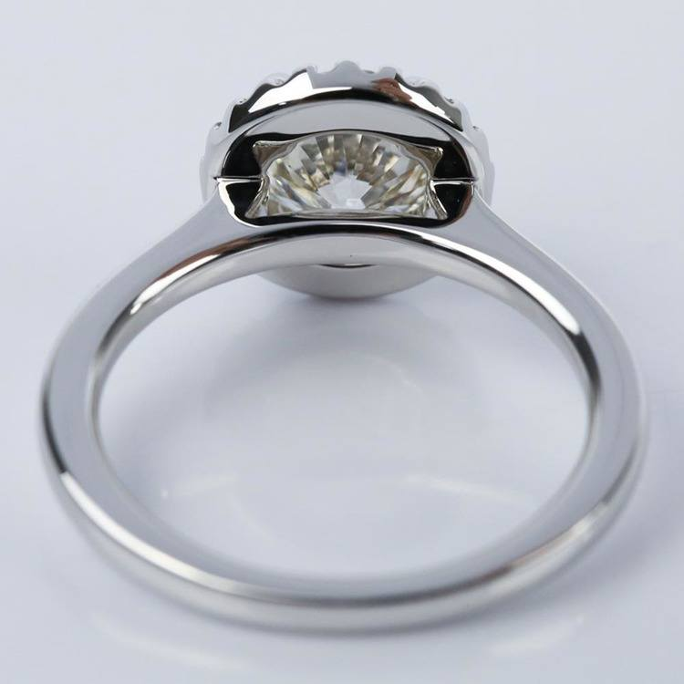 Halo Engagement Ring with K Color Center Diamond angle 4