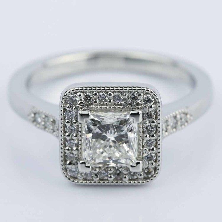Halo Milgrain Engagement Ring with Princess Diamond (1 Carat)