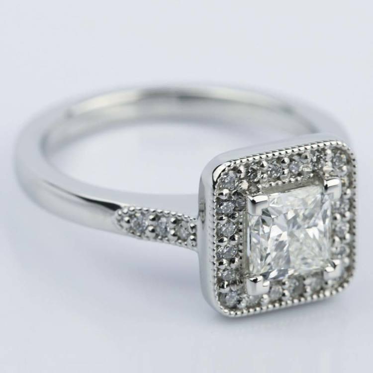 Halo Milgrain Engagement Ring with Princess Diamond (1 Carat) angle 3