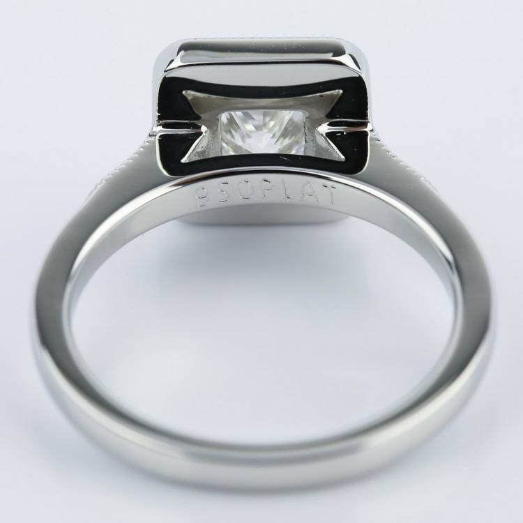 Halo Milgrain Engagement Ring with Princess Diamond (1 Carat) angle 4