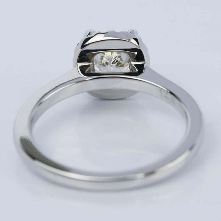 Halo Sapphire Cushion Cut Diamond Engagement Ring (0.97 ct.)  angle 4