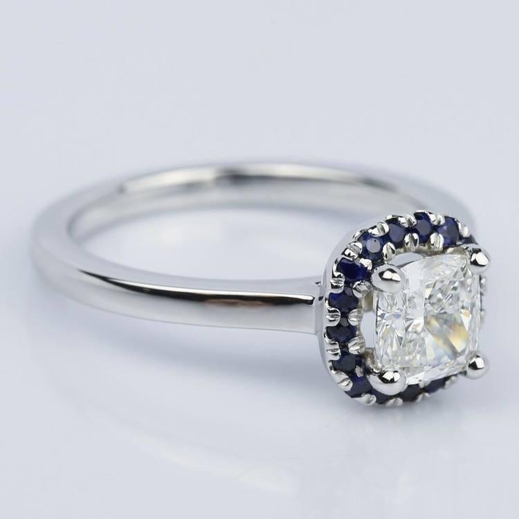 Halo Sapphire Cushion Cut Diamond Engagement Ring (0.97 ct.)  angle 3