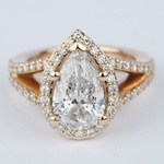Halo Pear Diamond Engagement Ring in Rose Gold - small