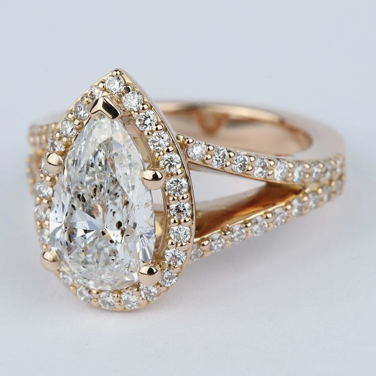 Halo Pear Diamond Engagement Ring in Rose Gold angle 2