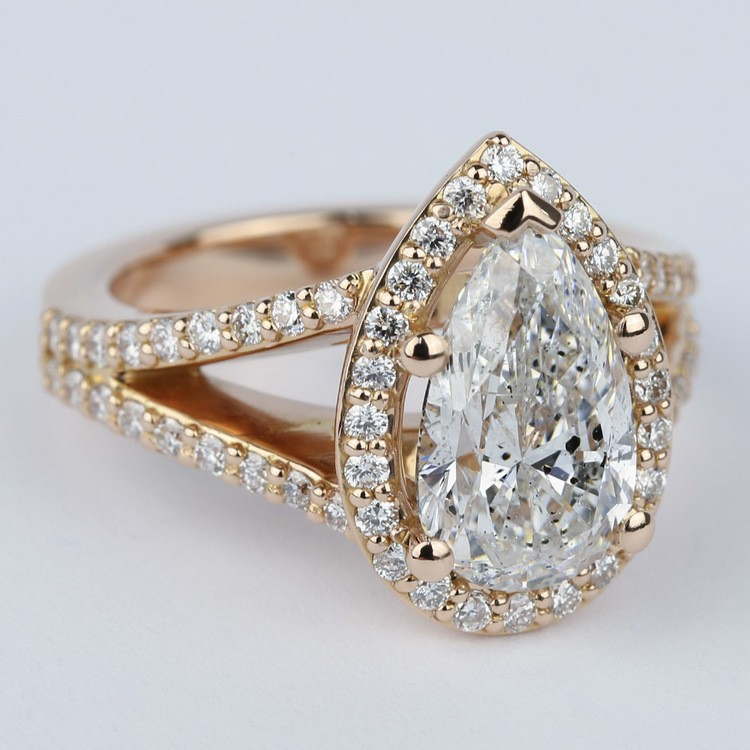Halo Pear Diamond Engagement Ring in Rose Gold angle 3