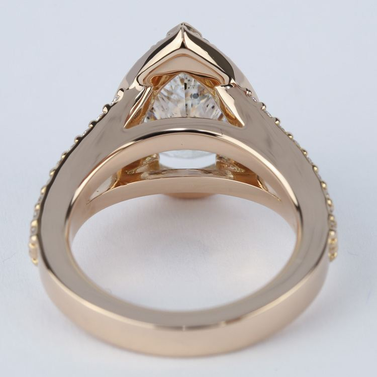 Halo Pear Diamond Engagement Ring in Rose Gold angle 4