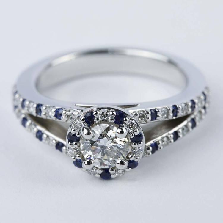 Split Shank Diamond & Sapphire Engagement Ring (0.50 ct.)