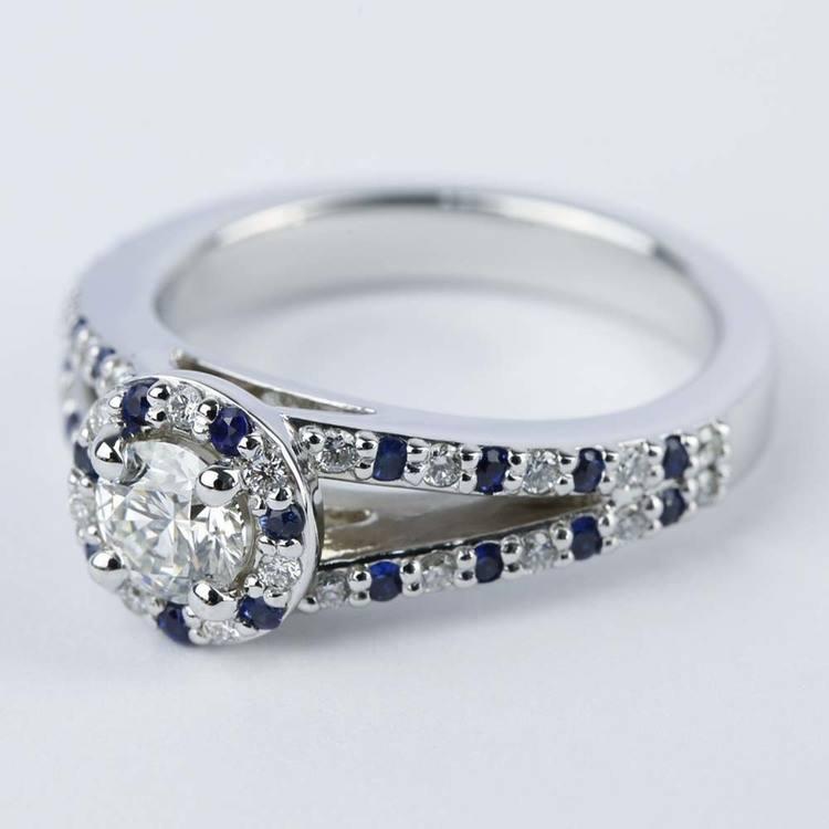 Split Shank Diamond & Sapphire Engagement Ring (0.50 ct.) angle 2