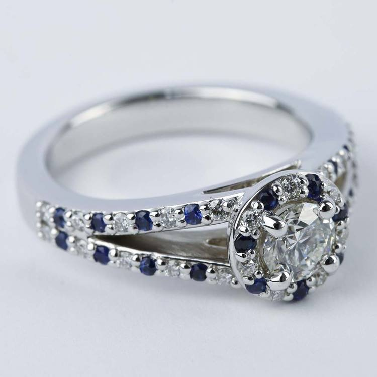 Split Shank Diamond & Sapphire Engagement Ring (0.50 ct.) angle 3