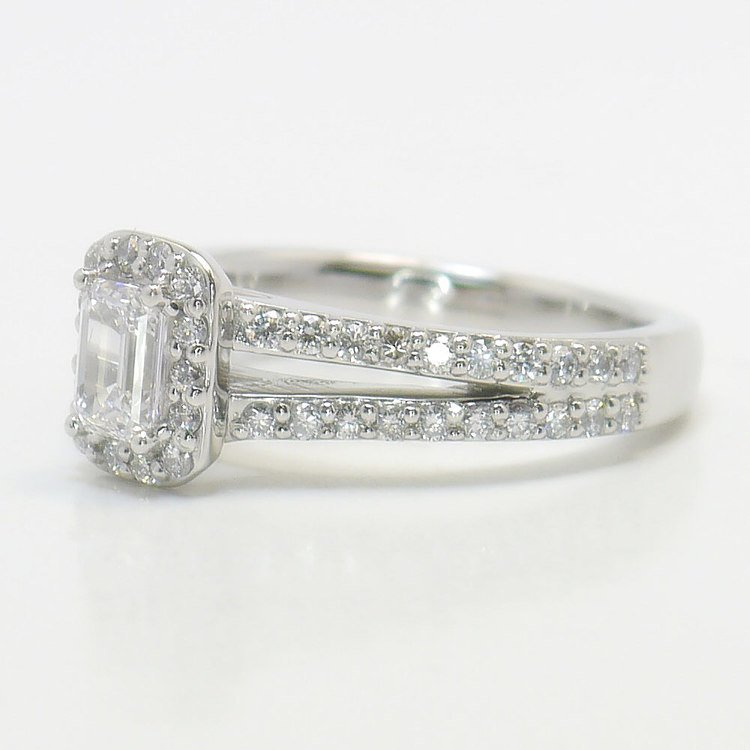 Half Carat Flawless Split Shank Emerald Halo Diamond Engagement Ring angle 2