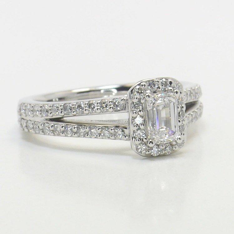 Half Carat Flawless Split Shank Emerald Halo Diamond Engagement Ring angle 3