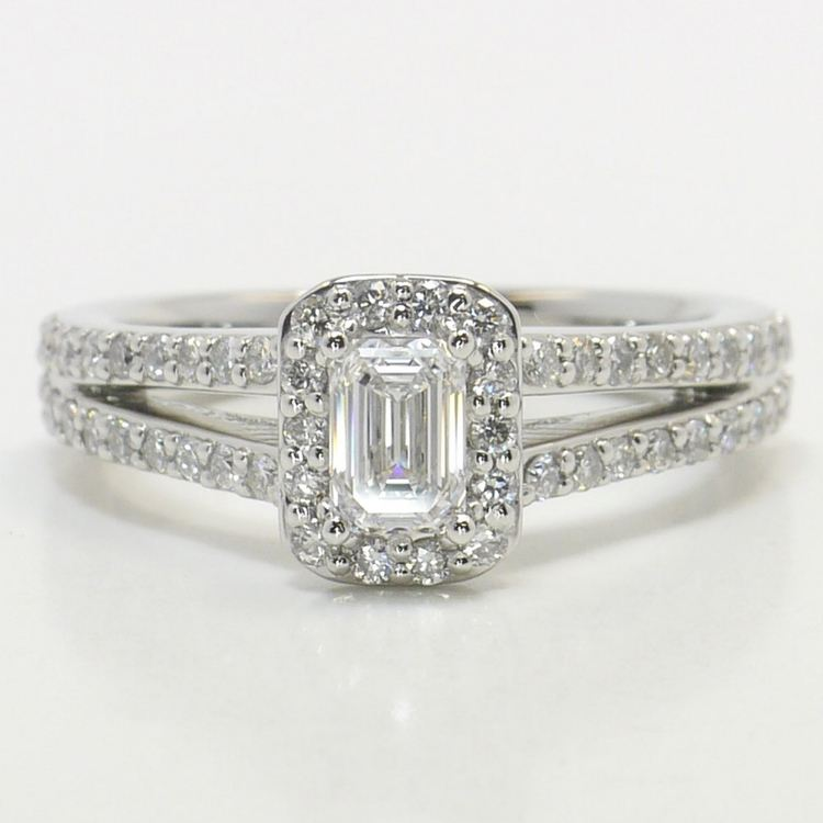Half Carat Flawless Split Shank Emerald Halo Diamond Engagement Ring