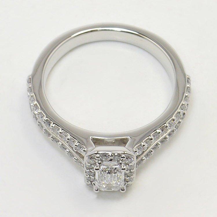 Half Carat Flawless Split Shank Emerald Halo Diamond Engagement Ring angle 4