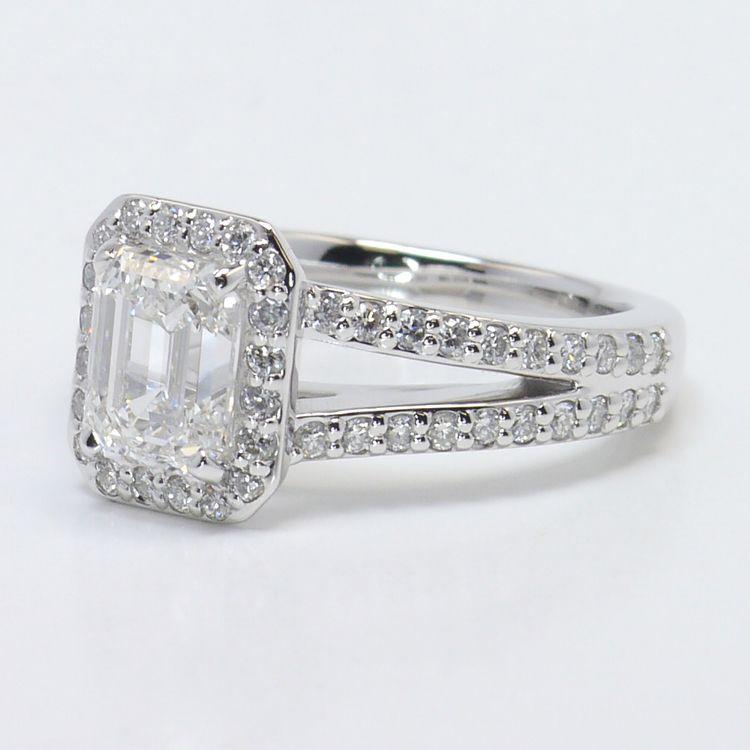 Split Shank 1.5 Carat Emerald Halo Diamond Engagement Ring angle 2
