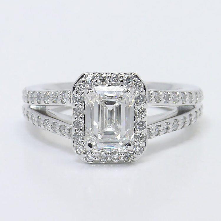Split Shank 1.5 Carat Emerald Halo Diamond Engagement Ring