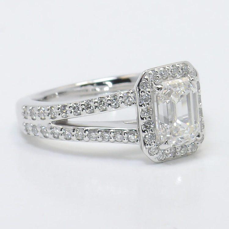 Split Shank 1.5 Carat Emerald Halo Diamond Engagement Ring angle 3