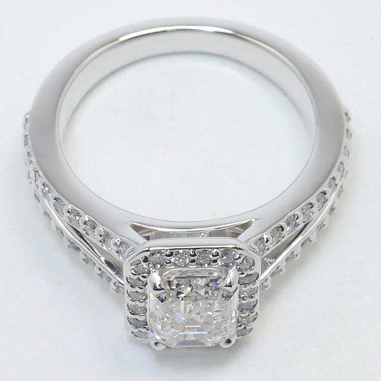 Split Shank 1.5 Carat Emerald Halo Diamond Engagement Ring angle 4