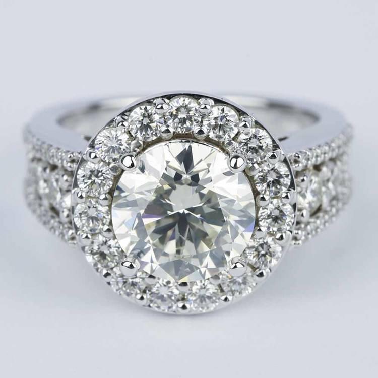 Large Halo Diamond Engagement Ring (3.50 Carat)