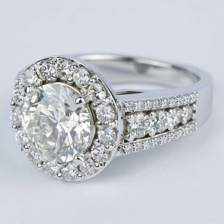 Large Halo Diamond Engagement Ring (3.50 Carat) angle 2