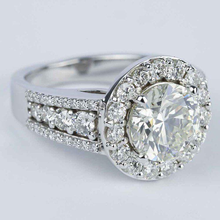 Large Halo Diamond Engagement Ring (3.50 Carat) angle 3