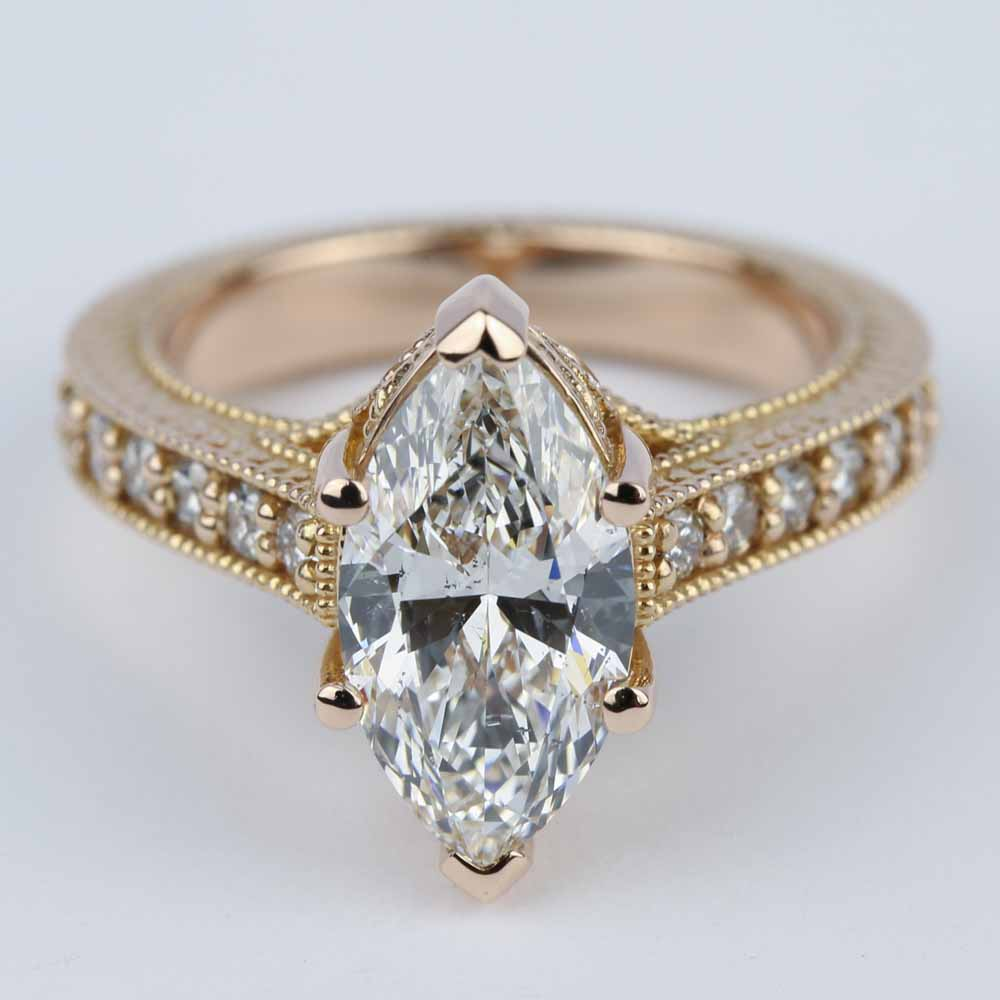 Engagement Rings Marquise: Hand-Carved Milgrain Marquise Diamond Engagement Ring (2 Ct