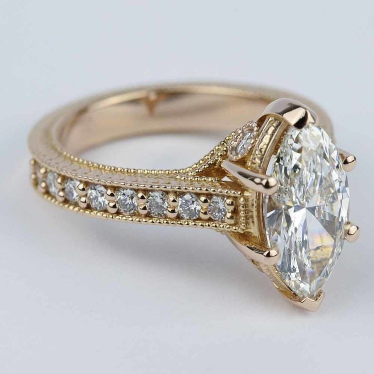 Hand-Carved Milgrain Marquise Diamond Engagement Ring (2 ct.) angle 3