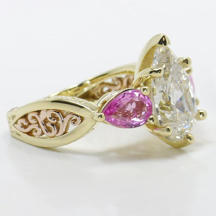 Hand Engraved Three-Stone Pink Sapphire Ring with Pear Diamond angle 3