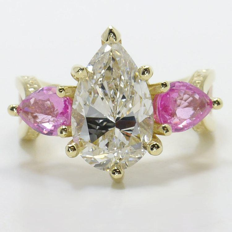 Hand Engraved Three-Stone Pink Sapphire Ring with Pear Diamond