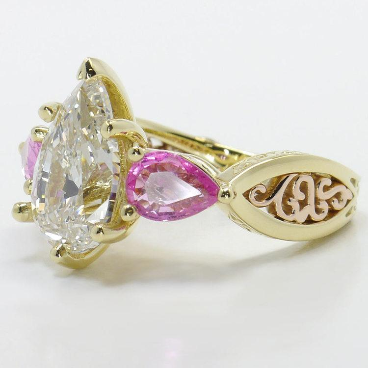 Hand Engraved Three-Stone Pink Sapphire Ring with Pear Diamond angle 2