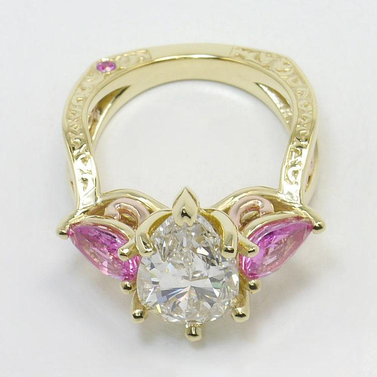 Hand Engraved Three-Stone Pink Sapphire Ring with Pear Diamond angle 4
