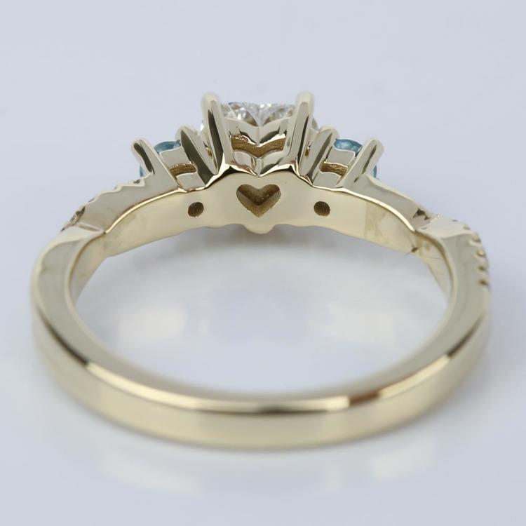 Heart Diamond & Topaz Gem Custom Engagement Ring angle 4