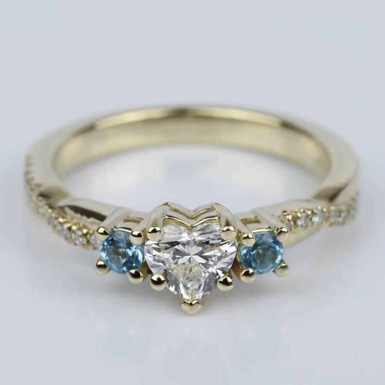Heart Diamond & Topaz Gem Custom Engagement Ring