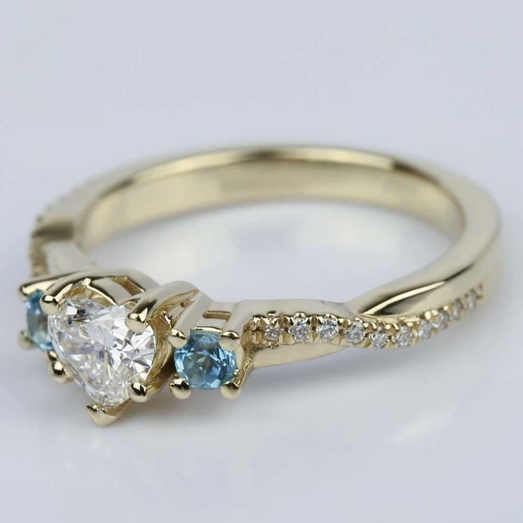 Heart Diamond & Topaz Gem Custom Engagement Ring angle 2